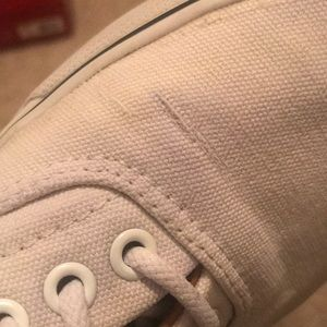 Vans Shoes - White vans with leather tabs